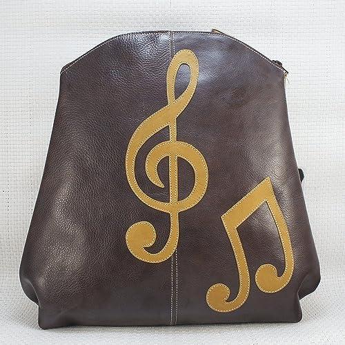 Mochila de piel marrón Music. Mochila de cuero de Artesanía. Mochila Arteycuero