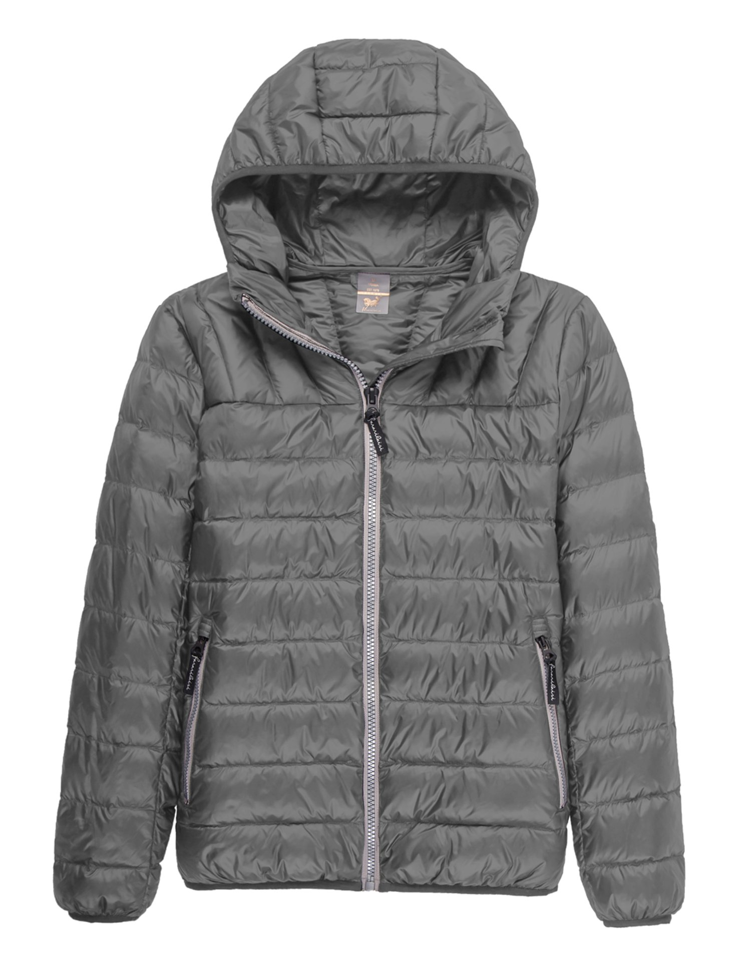 CHERRY CHICK Ultralight Unisex Style Hooded Down Jacket (2XL/Bust 48.8 inches, Unisex Space Grey)