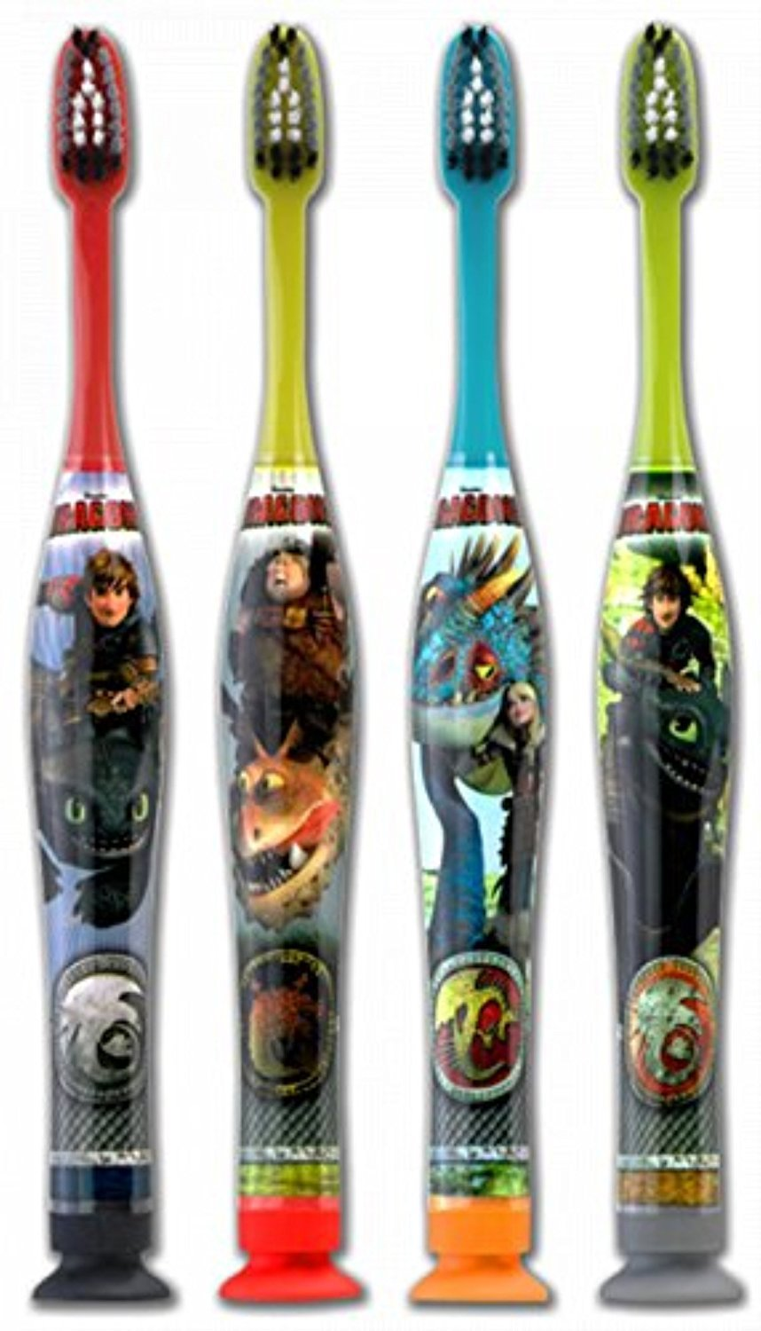 Sunstar 4060K How to Train Your Dragon - Manual Toothbrush, Dome Trim Bristle (4 Pack) Unknown