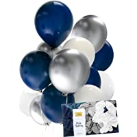 TOKYO SATURDAY Navy Balloon Chrome Silver Midnight Blue White Mix Latex 30Pcs Thick 12 Inch, Birthday Party Decoration, Photobooth, Backdrop, Balloon Arch, Funeral (Black Navy Chrome,)…