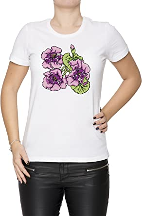 Flor Morada Mujer Camiseta Cuello Redondo Blanco Manga Corta Tamaño XXL Womens T-Shirt White X-Large Size XXL: Amazon.es: Ropa y accesorios