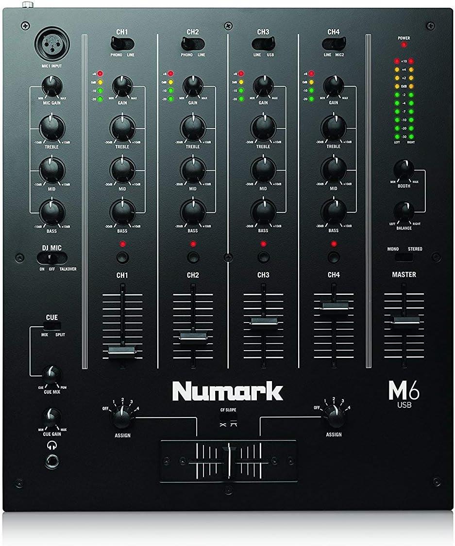 Mikrofon-Eingang und austauschbarem Crossfader mit 2-Band-Equalizer Numark M101-2-Kanal DJ-Mixer f/ür die Disco ausgelegten Eing/ängen rack-einbauf/ähig