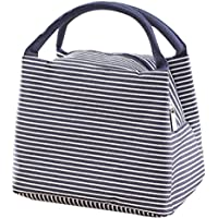LQZ Small Size Stripe Picnic School Office Insulated Tote Lunch Bag for Women Men