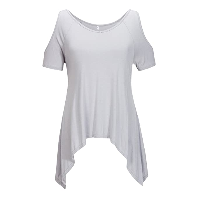Beauty7 ES 34 Off Hombro Sin Tirante Camisas Mujeres Algodon Suave Manga Corta Hueco Camisetas Blusas