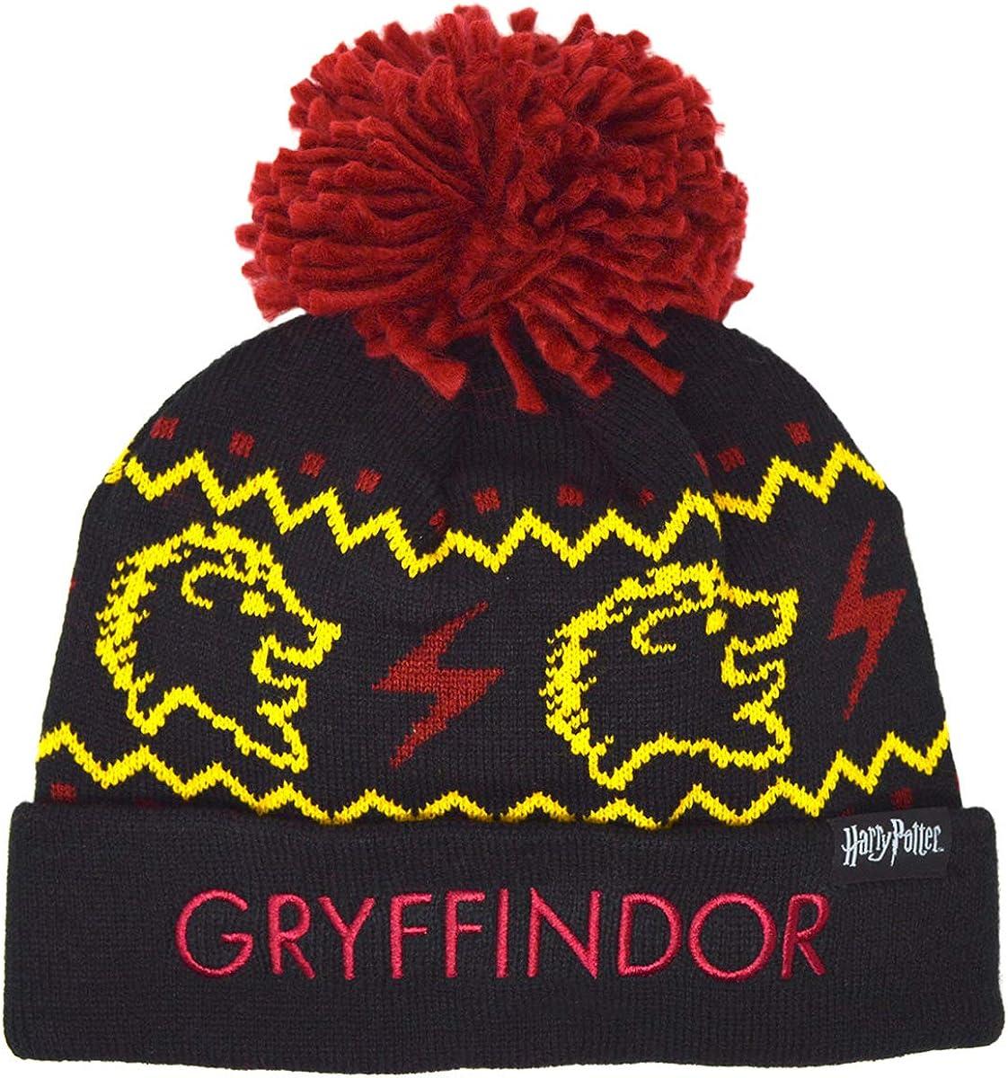 Kids Harry Potter Hogwarts Gryffindor Beanie Hat 8-14 Years Black//Red//Gold