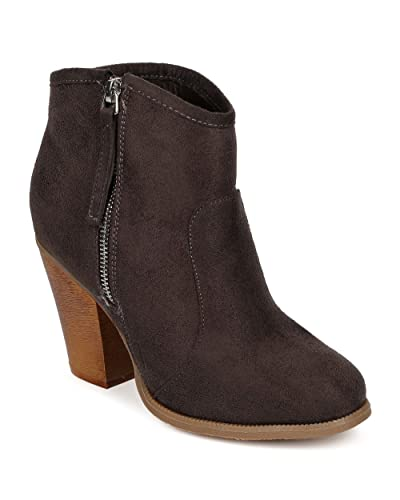 CK46 Women Suede Round Toe Chunky Heel Ankle Riding Bootie