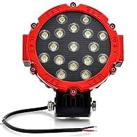 Farol de Milha Redondo Vermelho 17 LEDs 51W Off Road