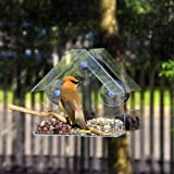 Window Bird House Feeder with Sliding Seed Holder and 3 Extra Strong Suction Cups. Large Bird feeders for Outside, Birdhouse