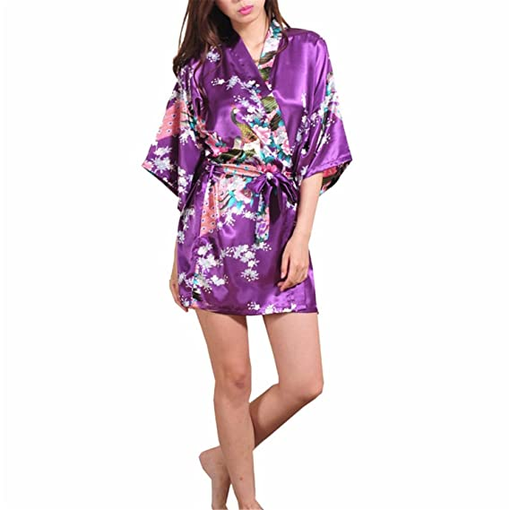 Samuel Roussel Female Printed Floral Kimono Dress Gown Silk Satin Robe Nightgown at Amazon Womens Clothing store: