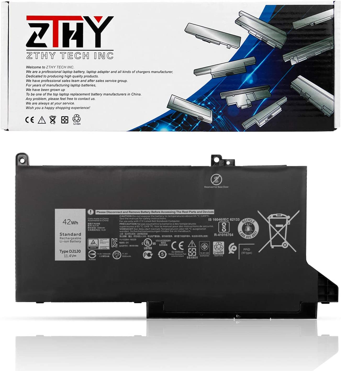 ZTHY DJ1J0 42Wh 3-Cell Laptop Battery for Dell Latitude 12 7280 K8X0T KHY0C 7290 E7280 E7290 13 7380 7390 E7380 E7390 14 7480 7490 E7480 E7490 Series Notebook 451-BBZL C27RW PGFX4 ONFOH DJ1JO 11.4V