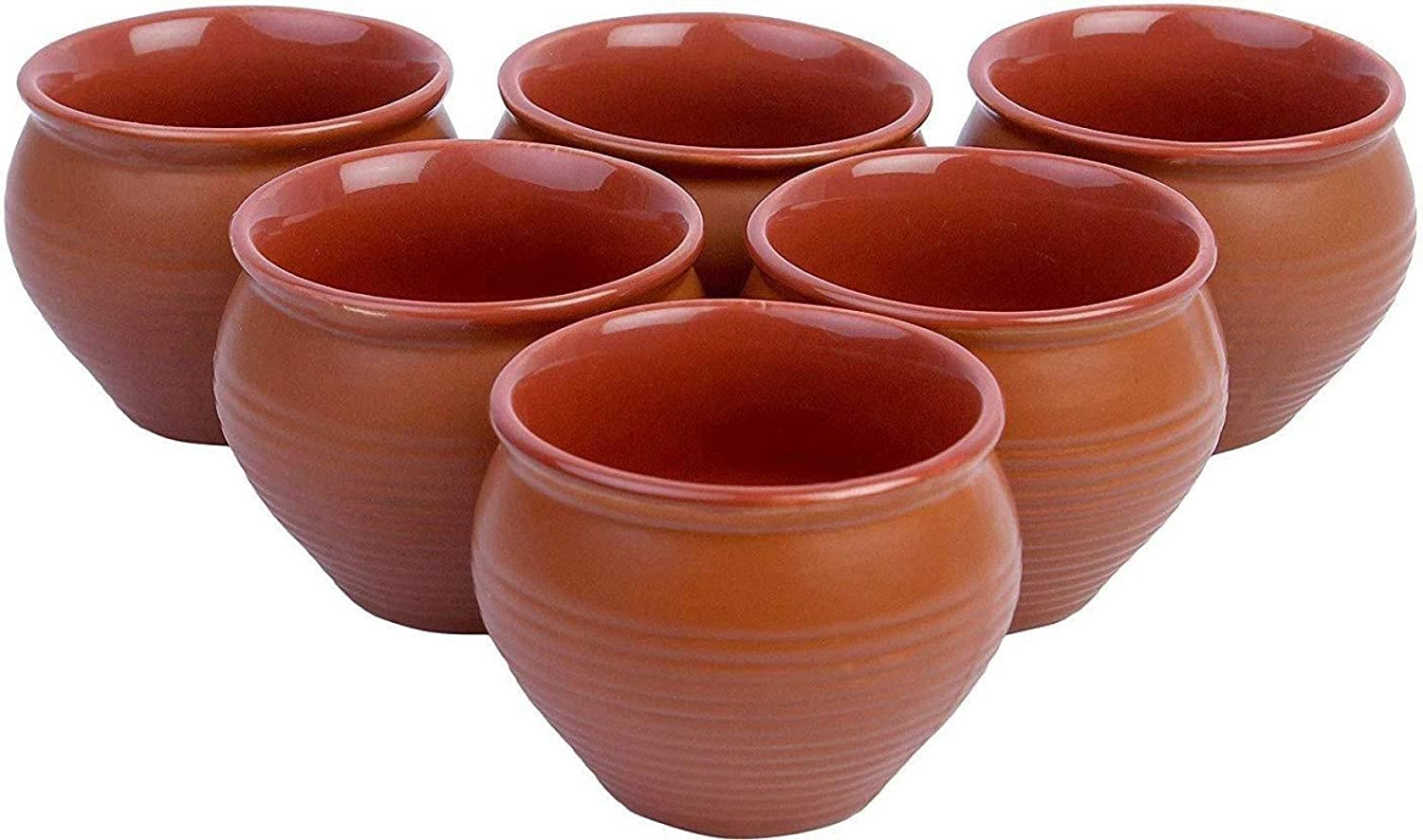 Creativegifts Ceramic Kulhar Cups Reusable Traditional Indian Chai Tea Cup (Set of 6. 100 ml each)