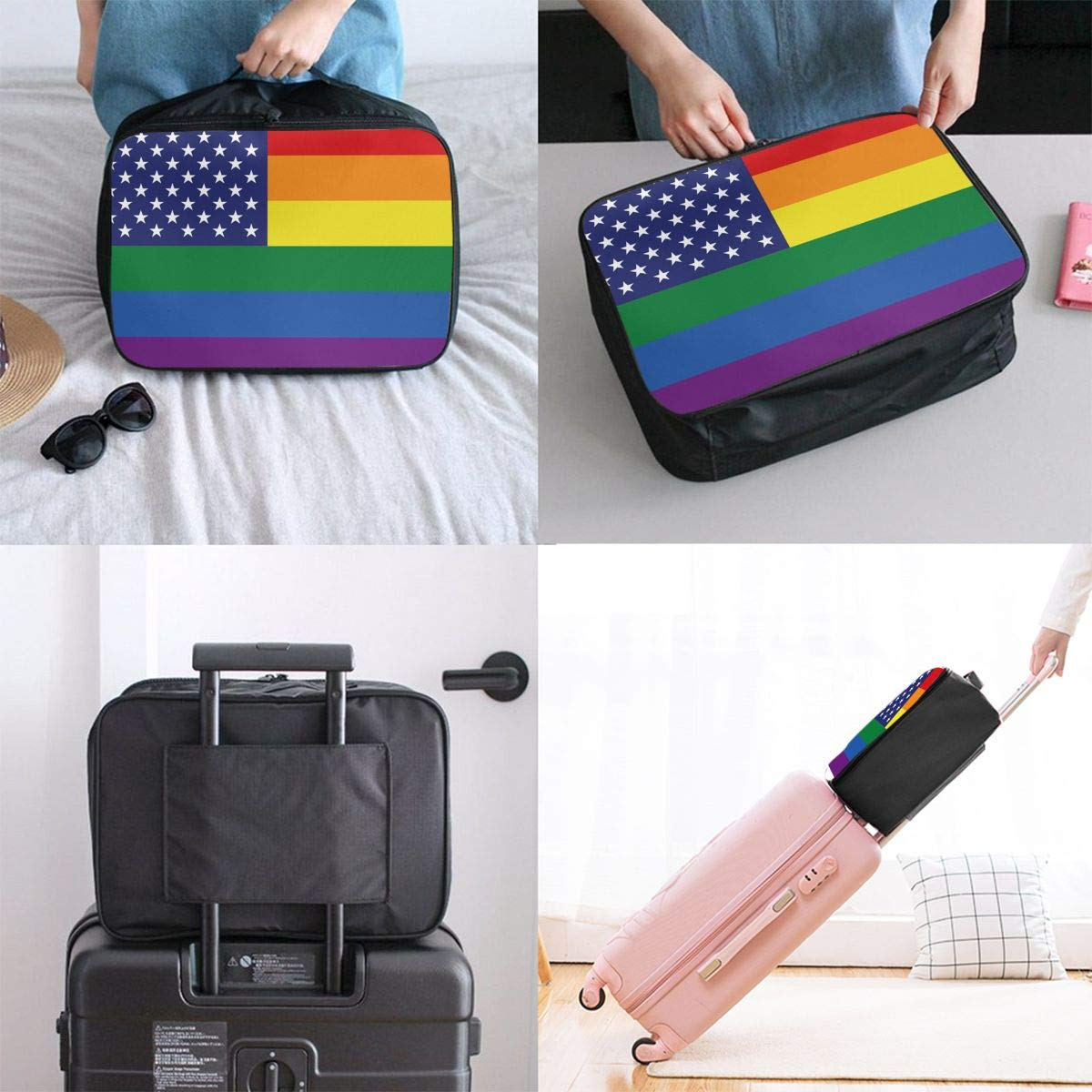 YueLJB United States Gay Pride Flag Lightweight Large Capacity Portable Luggage Bag Travel Duffel Bag Storage Carry Luggage Duffle Tote Bag
