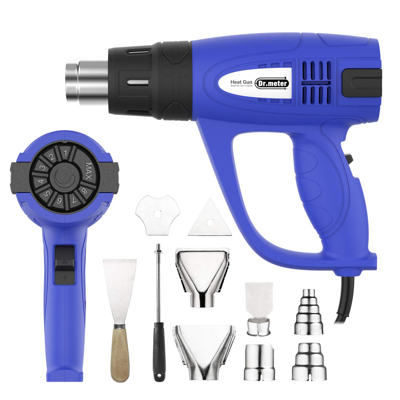 10 accesorios 3 velocidades de flujo de aire para bricolaje Pistola de calor pintura Pistola de aire caliente profesional Dr.meter con temperatura ajustable rango 60-600 /° C PVC retr/áctil