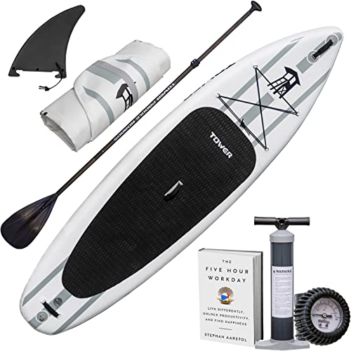 TOWER Inflatable 10 4 Stand Up Paddle Board – 6 Inches Thick – Universal SUP Wide Stance – Premium SUP Bundle Pump Adjustable Paddle Included – Non-Slip Deck – Youth and Adult