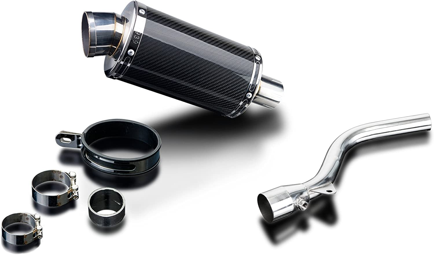 Delkevic De-Cat Aftermarket Slip On compatible with Kawasaki KLX250 DS70 9 Carbon Fiber Oval Muffler Exhaust 09-16