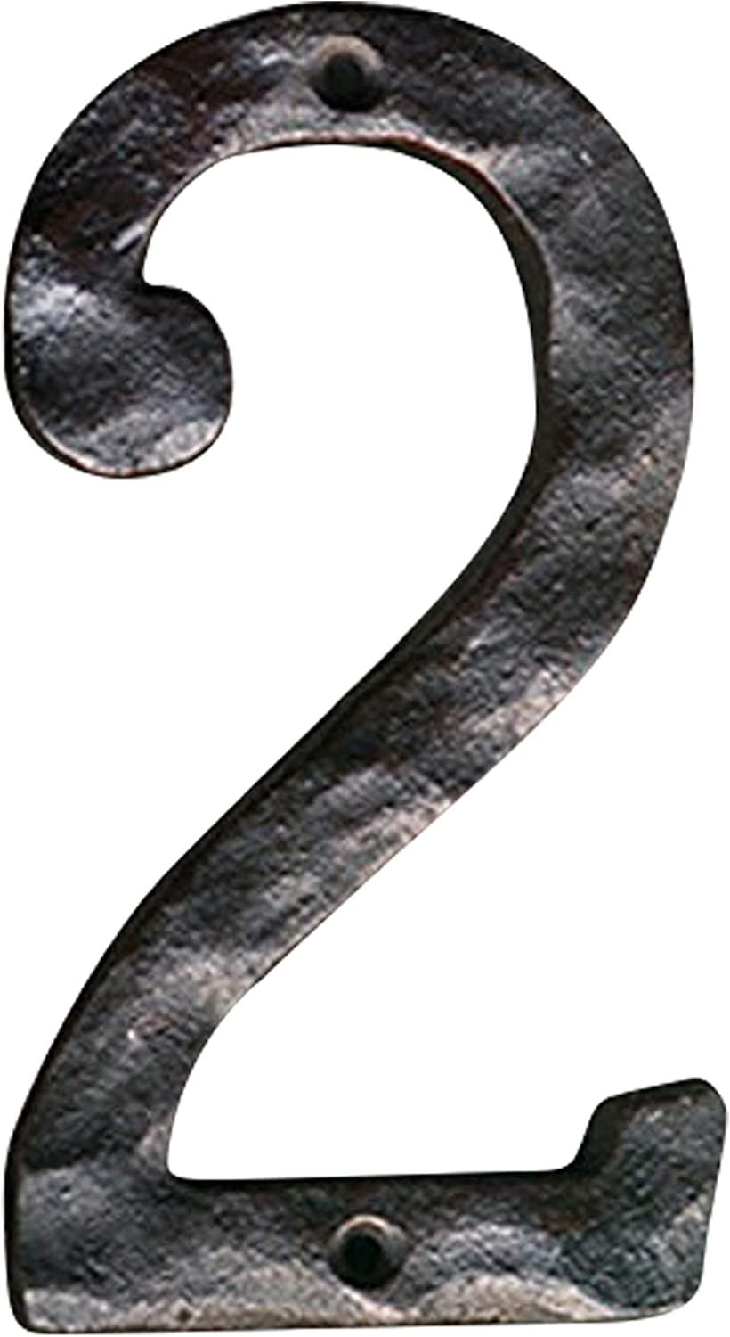 NACH js-rusticnumber-2 House Numbers, 5.5 Inch, Rustic Cast Iron