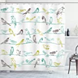 Ambesonne Birds Shower Curtain, Various Type of