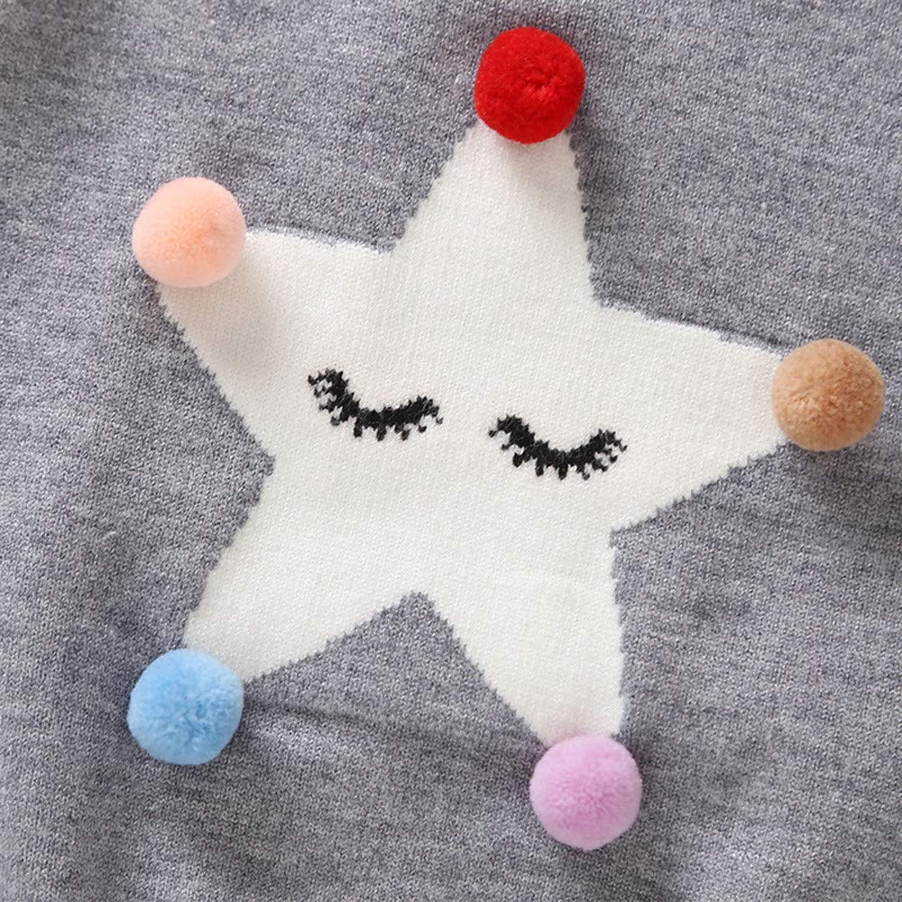 Toddler Infant Baby Girls Boy Hair Ball Five Pointed Star Sweater Tops