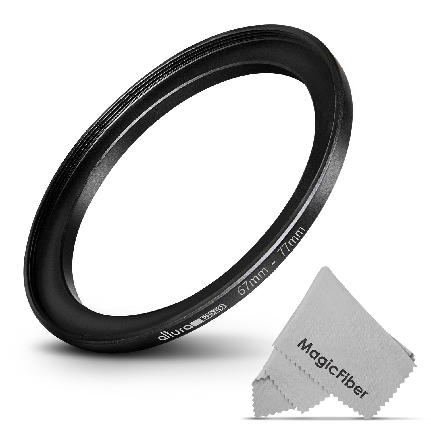 Altura Photo 67-77MM Step-Up Ring Adapter (67MM Lens to 77MM Filter or Accessory) + Premium MagicFiber Cleaning Cloth