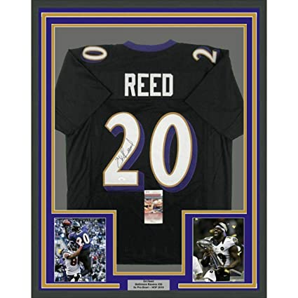 521f108e Ed Reed Signed Jersey - FRAMED 33x42 Black COA - JSA Certified ...