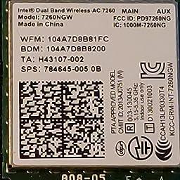 Amazon com: Intel 7260NGW Dual Band Wireless-AC 7260 802 11ac, Dual