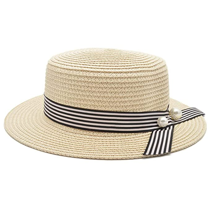 b920e024 New Sun Cap Ribbon Round Flat Top Straw Beach hat Panama Hat Summer Hats  for Women