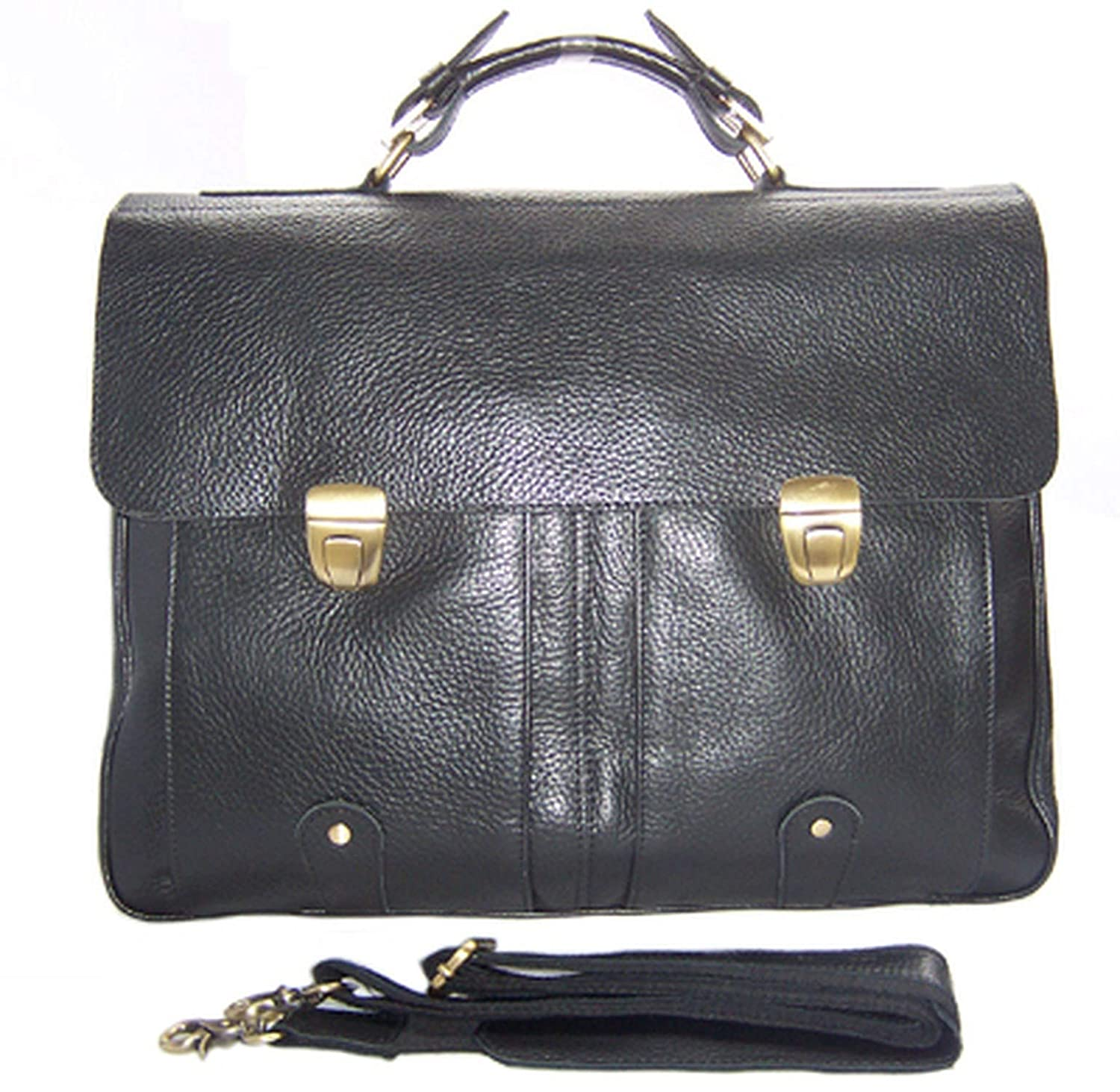 Men Leather Briefcase Portfolio men briefcase large bag 15laptop bag male office bag Tote attache case Black