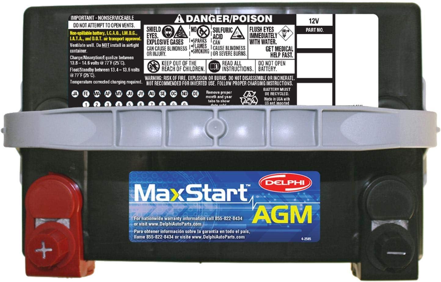 Delphi BU9078DT MaxStart AGM Premium Automotive Battery Group Size 78DT Dual Terminal