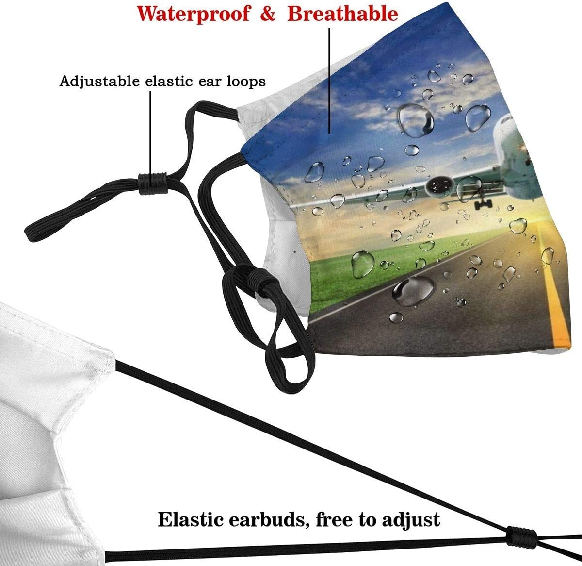 Aircraft Take Off Airplane Airport Runway Sky Cloud Unisex and Reusable Warm Face Protection for Outdoor
