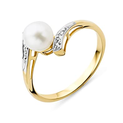 Miore Women's 9 ct Yellow Gold Round Freshwater Cultured Pearl Ring RtV4yf