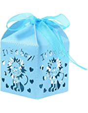 STOBOK 50pcs It's a boy Baby Shower Birthday Party Candy Boxes Gift Chocolate Favor Boxes for boy Baby Shower Birthday Party Supplies (Blue)