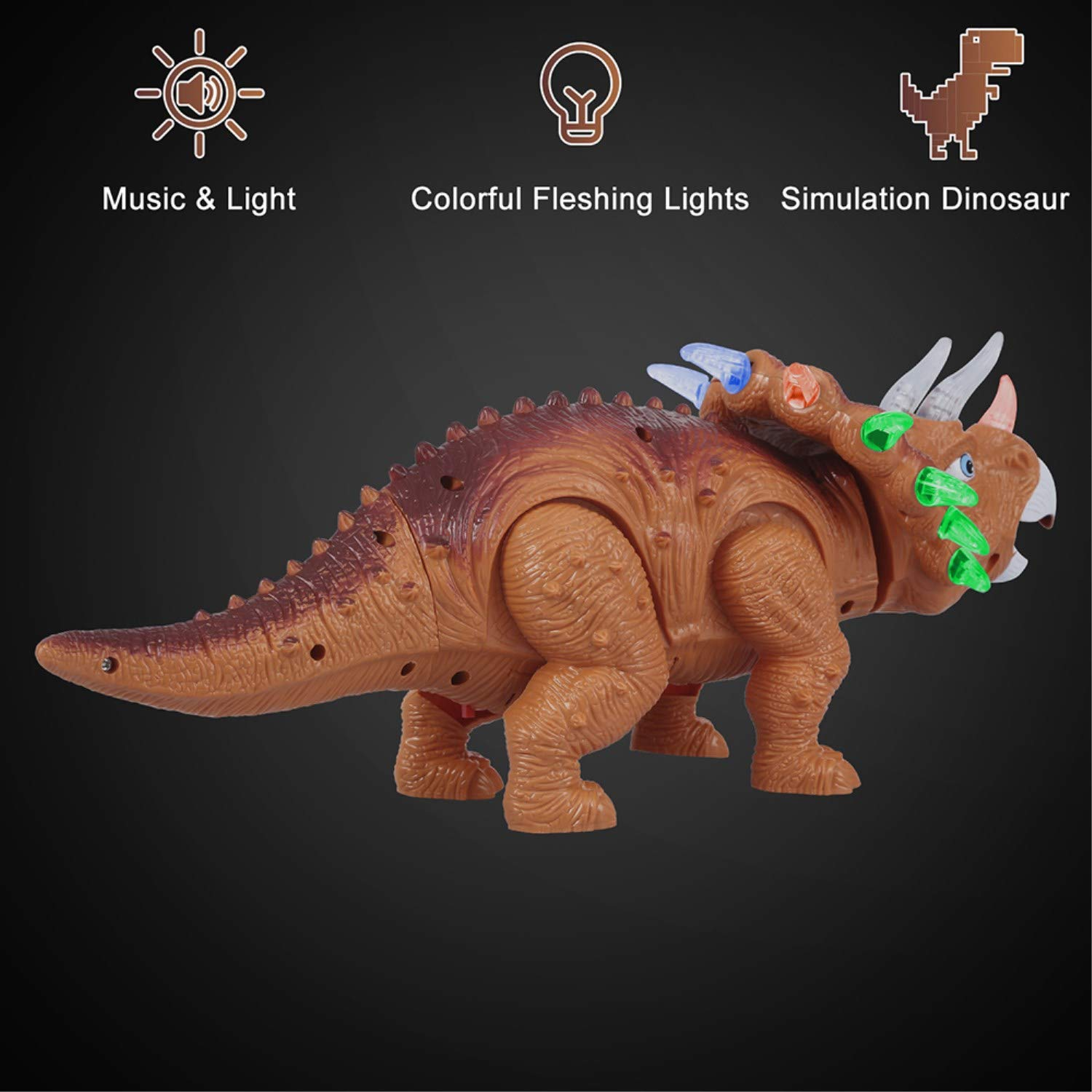WomToy Walking Dinosaur Toys, Triceratops Dinosaur Toy Figure for Boys & Girls for Kids with Amazing Roar Sounds, Lights & Movement by WomToy (Image #2)