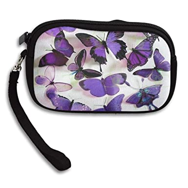 Amazon.com: Monedero morado mariposas mujer cierre pequeño ...