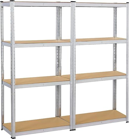Yaheetech 2 x Estanterías Metálicas de Almacenaje 160 x 80 x 40 cm Estante para Trastero Cocina Almacén Garaje Organizador de Bricolaje Carga de 80 kg ...