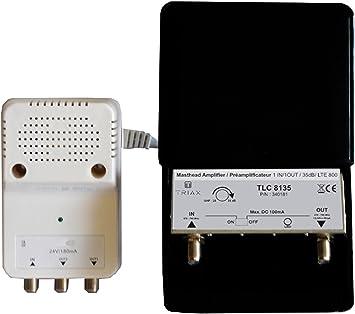 Triax Kit de Amplificador de mástil con 1 Entrada UHF y Fuente ...