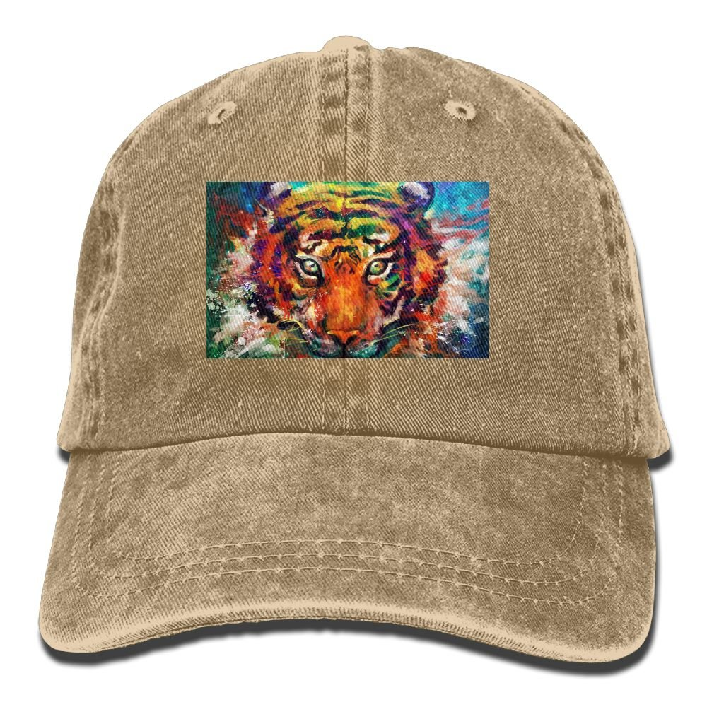 colorful Tiger Head Pattern Unisex Sport Adjustable Structured Baseball Cowboy Hat