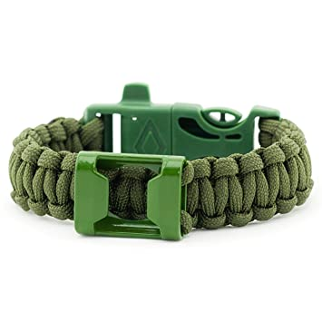 Paracord Universal Armband mit Pfeife und Feuerstarter Survival-Seil in olivgrün