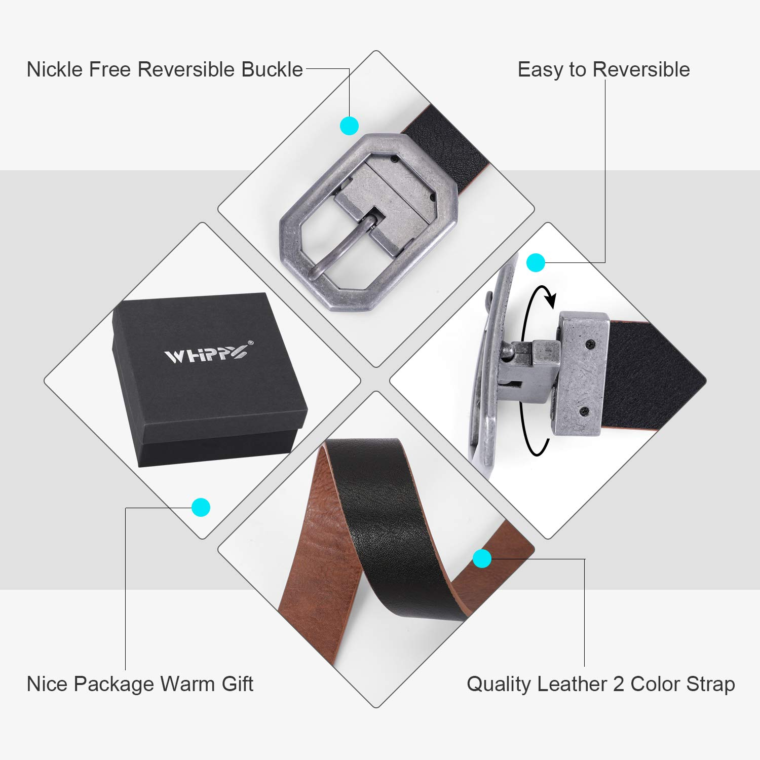 WHIPPY Reversible Women/Men Belt Leather Dress Belts for Jeans Pants Rotating Buckle for 2 Colors,Black+Brown,Suit Pants 36-40 Inches