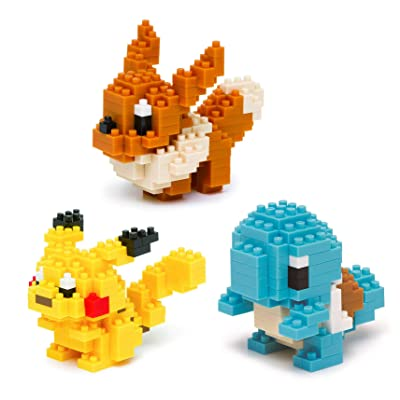 Nanoblocks - 3 Sets - Pikachu, Squirtle and Eevee - Adjustable Pokemon Characters (Japan Import): Toys & Games