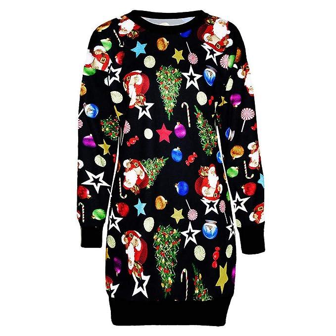 cf2d32ddf985 Damen Langarm Kleid Damen Weihnachten Hemd Kleid Langarm Pullover Pullover  Weihnachtsmann Sweatshirt über dem Knie,