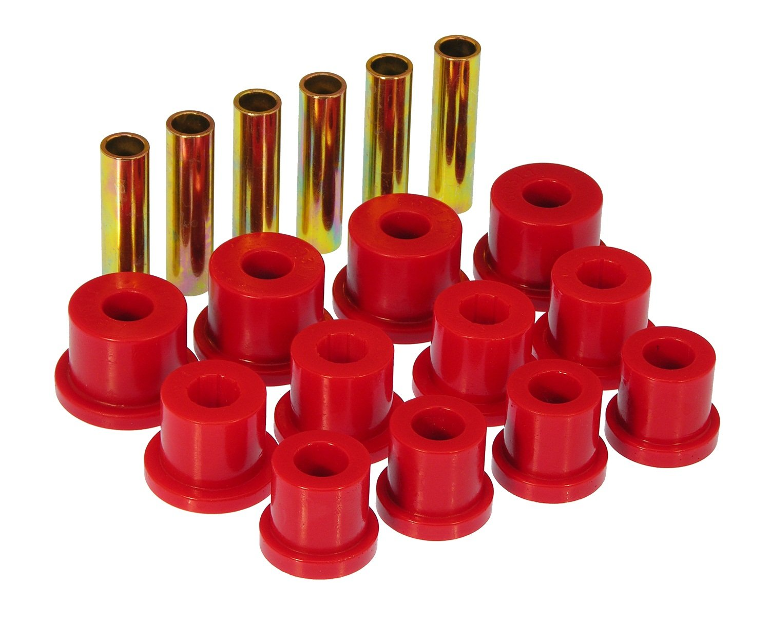 Prothane 7-1004 Red Rear Spring Eye and Shackle Bushing Kit