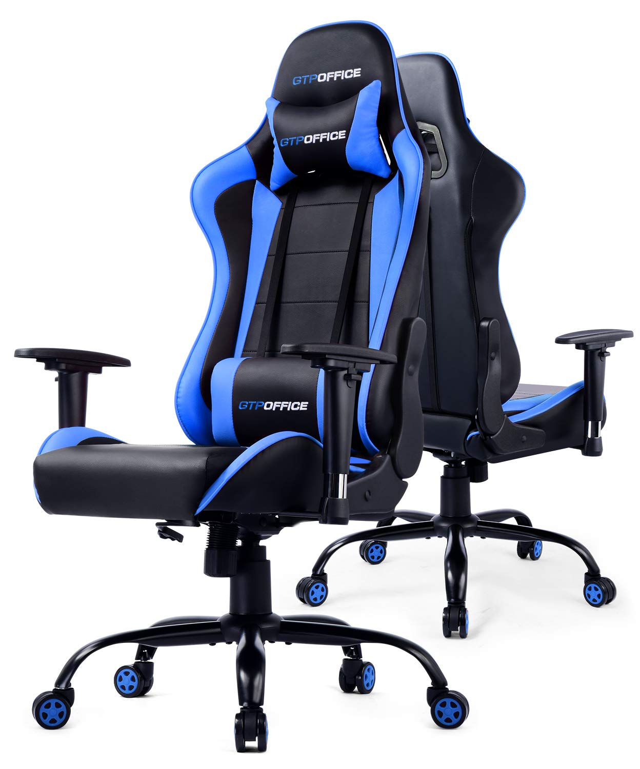 Gaming Chair Office Racing Computer Desk Chairs Ergonomic Executive Manager Work High Back Adjustable Swivel Task Chair Tilt E-Sports Chair Blue