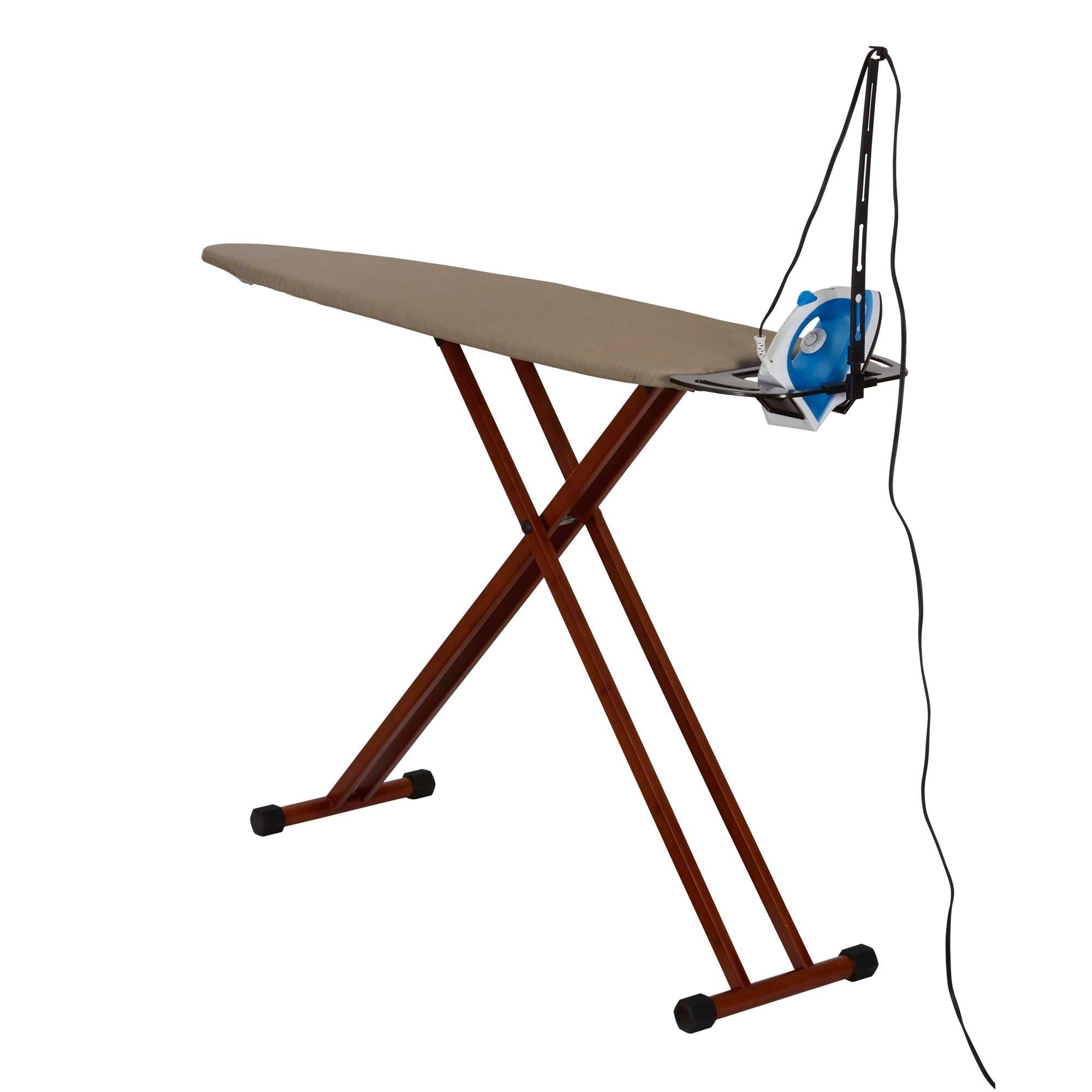 MattsGlobal Bamboo Leg Ironing Board with Iron Rest Cotton Wood Free Standing Iron Holder Dark Frame by MattsGlobal (Image #2)