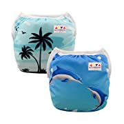 ALVABABY Boys & Girls Swim Diapers One Size Reuseable Adjustable 0-24 mo.Size 10-40lbs 2pcs DYK07-08