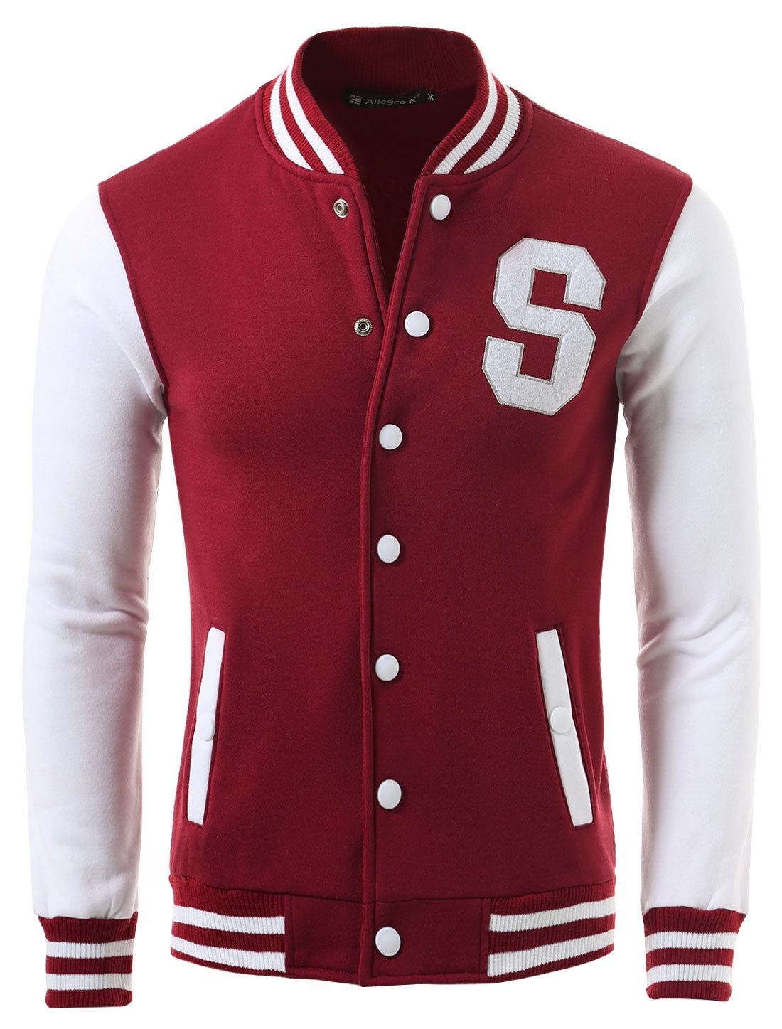 Allegra K Men Single Breasted Letters Baseball Jacket Burgundy L by uxcell