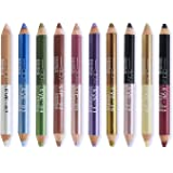 Ownest 20 Colors Eyeshadow Pencil,Double Head Matte Shimmer Eye Shadow Cream,Waterproof Cosmetic Makeup Set-10pcs