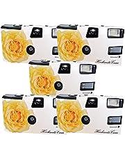"""5x boda Cámara/cámara desechable PHOTO PORST """"crema amarillas de bodas Rose (con flash luz y pilas, por 27 fotos, ISO 400 Fuji)"""