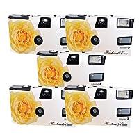 """5x PHOTO PORST Hochzeitskamera / Einwegkamera """"gelbe Hochzeitsrose"""" (mit Blitzlicht und Batterien, je 27 Fotos, ISO 400 Fuji)"""