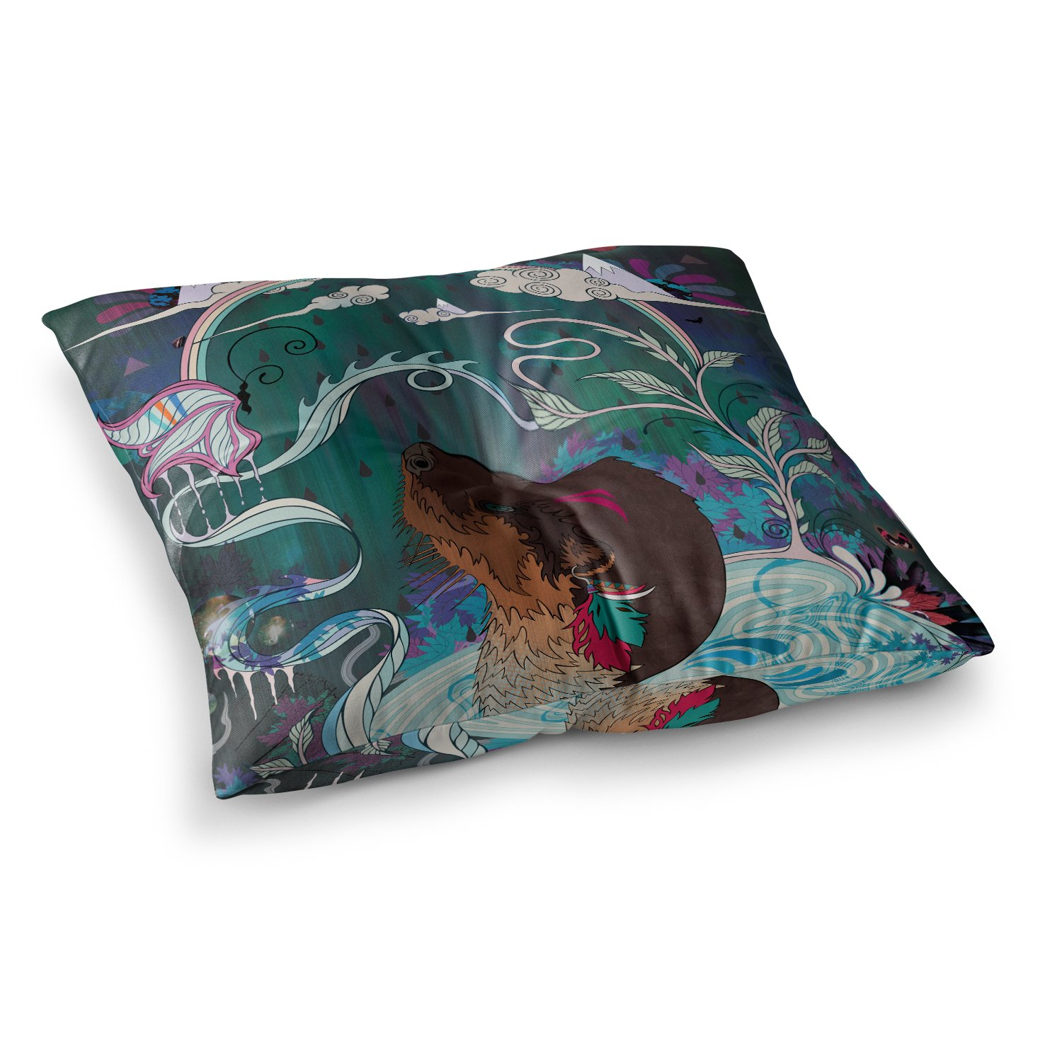 Kess InHouse Mat Miller Delicate Distraction Otter Teal 23 x 23 Square Floor Pillow