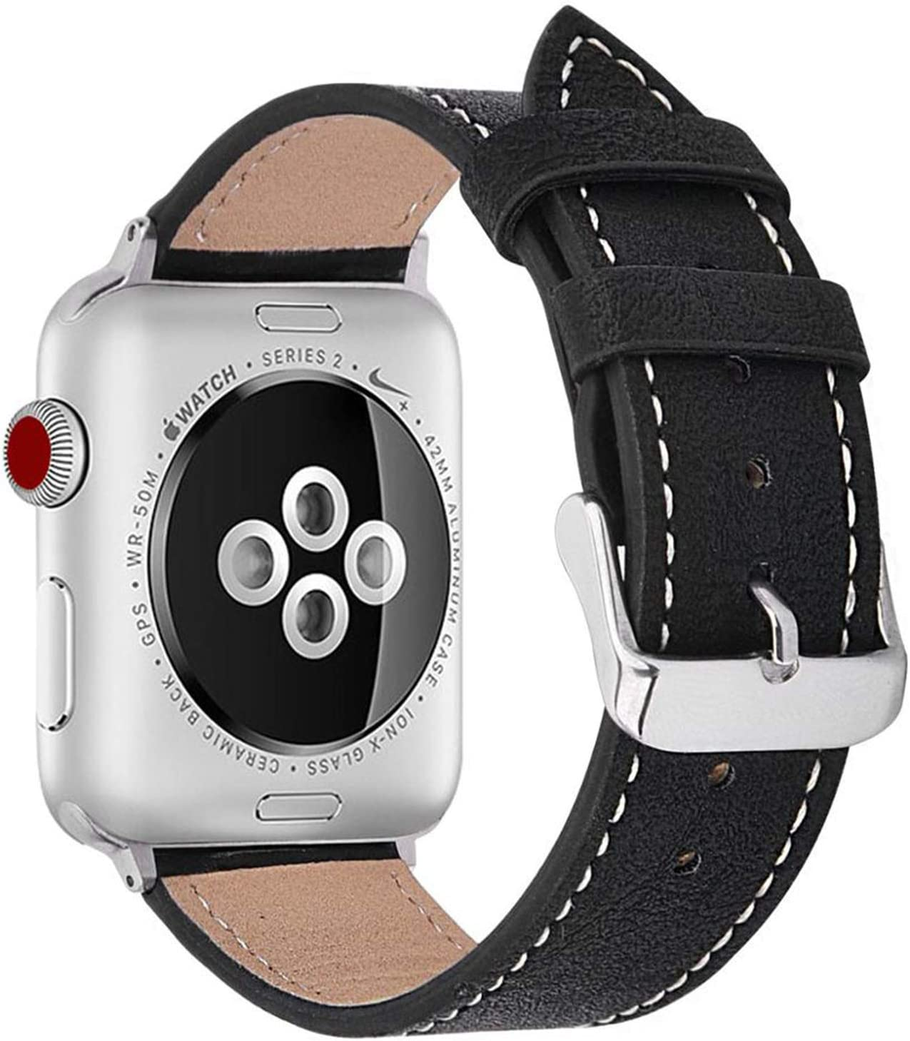 Compatible with Apple Watch Band 38mm 40mm, Genuine Leather Band Replacement Strap Compatible with Apple Watch Series 6/5/4/3/2/1/SE (Black Band/Silver Adapter, 38mm /40mm)